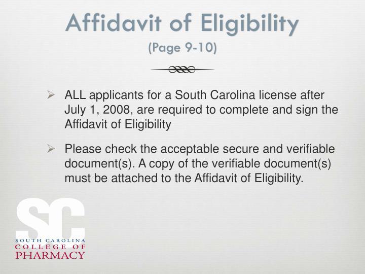 Affidavit of Eligibility