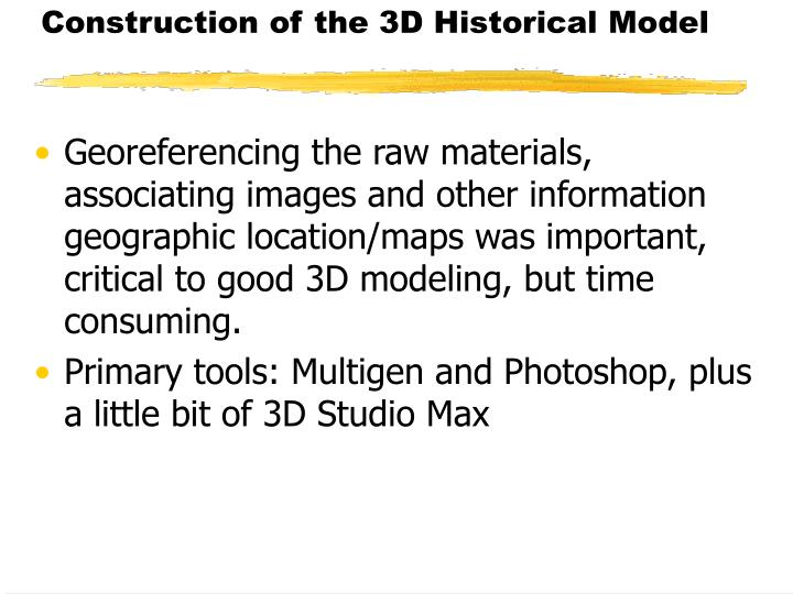 Construction of the 3D Historical Model