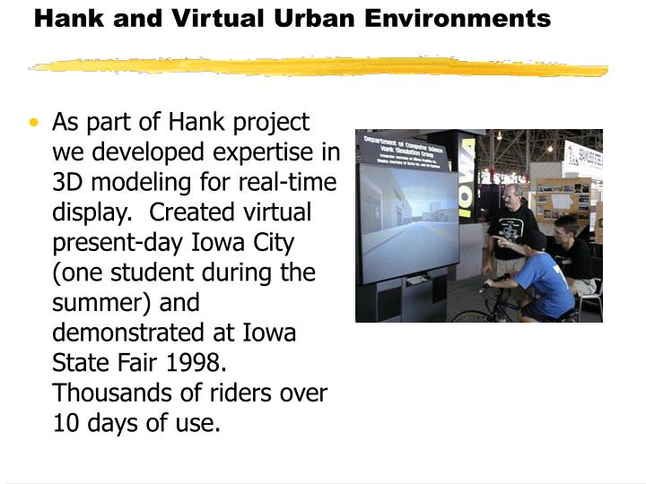 Hank and Virtual Urban Environments