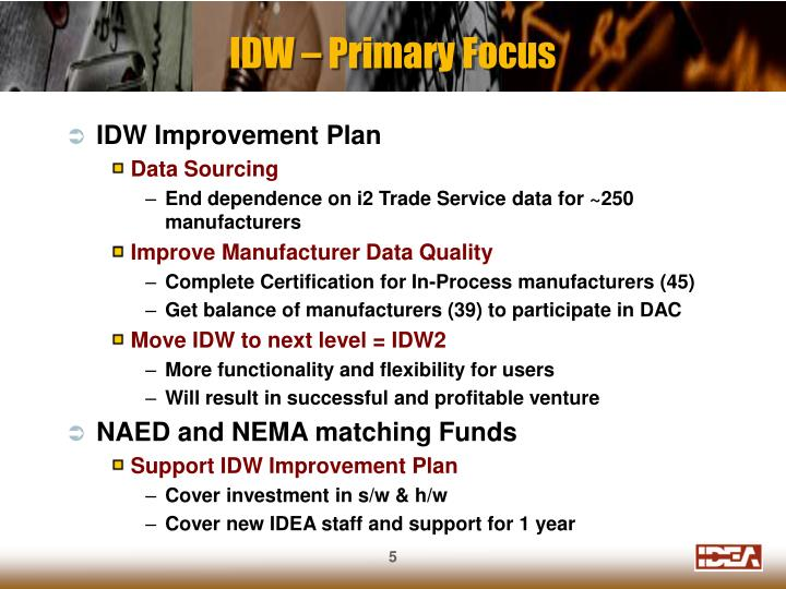 IDW – Primary Focus