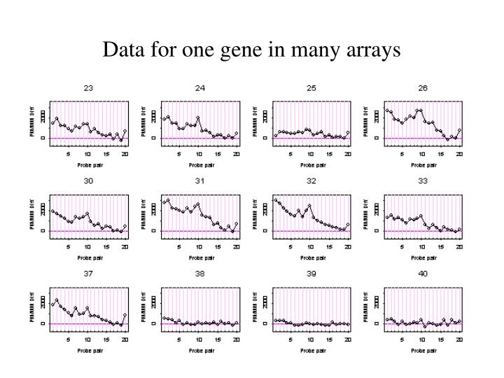 Data for one gene in many arrays