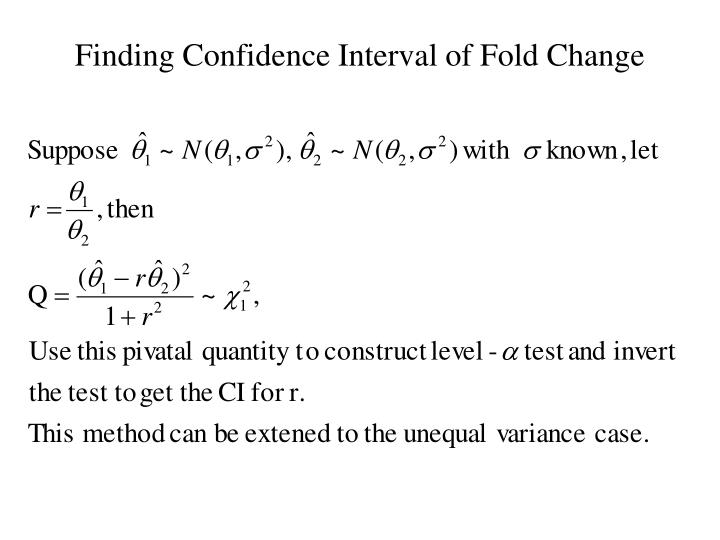 Finding Confidence Interval of Fold Change