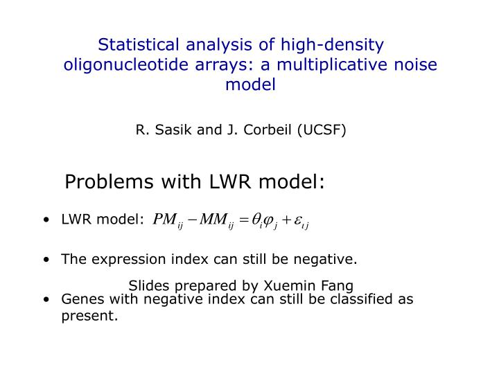 Statistical analysis of high-density oligonucleotide arrays: a multiplicative noise model
