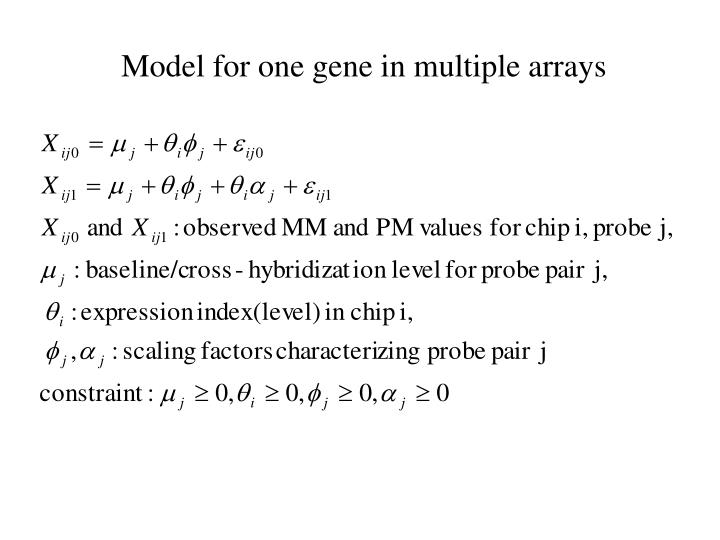 Model for one gene in multiple arrays