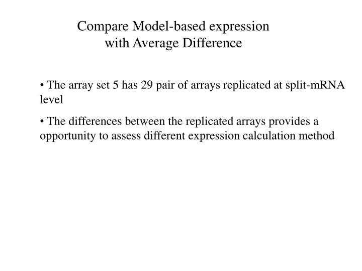 Compare Model-based expression with Average Difference