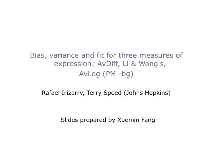 Bias, variance and fit for three measures of expression: AvDiff, Li & Wong's,