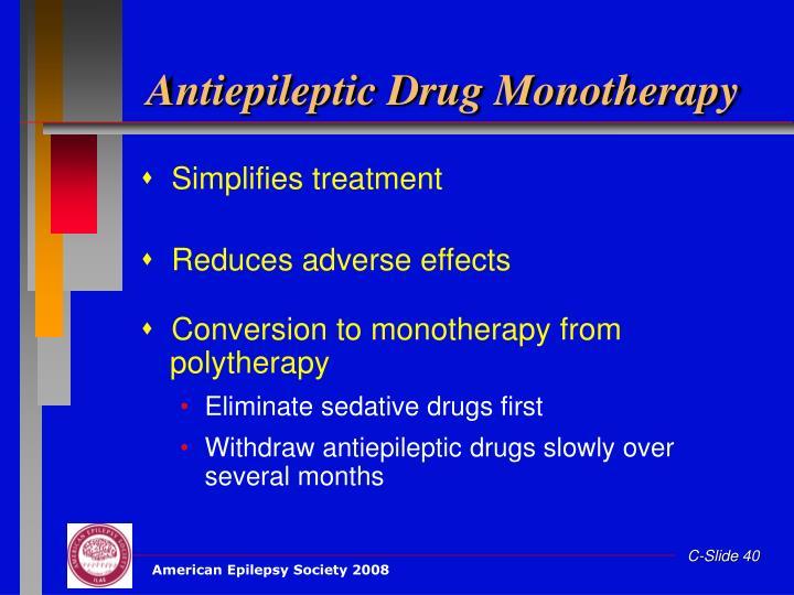 Antiepileptic Drug Monotherapy