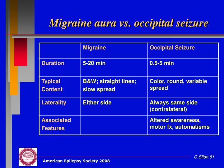 Migraine aura vs. occipital seizure