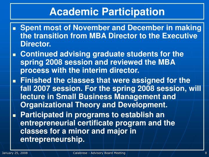 Academic Participation