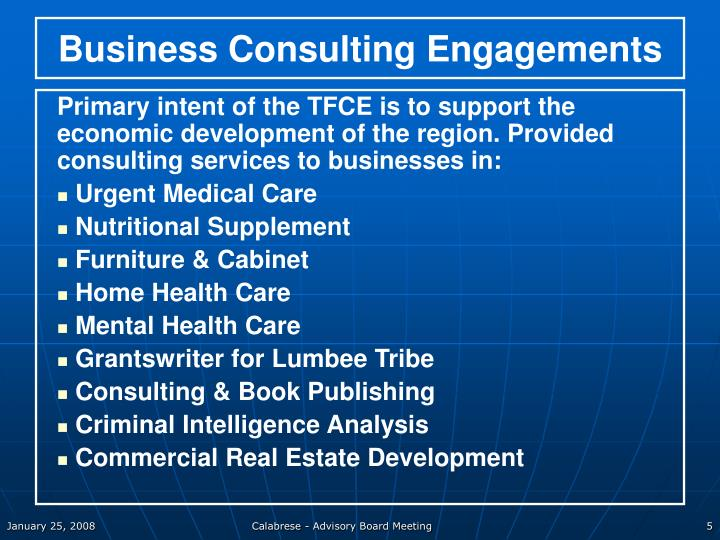 Business Consulting Engagements