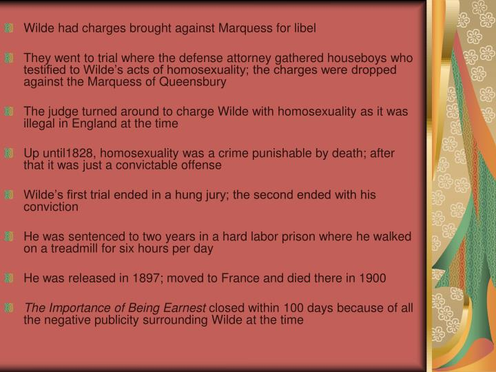 Wilde had charges brought against Marquess for libel