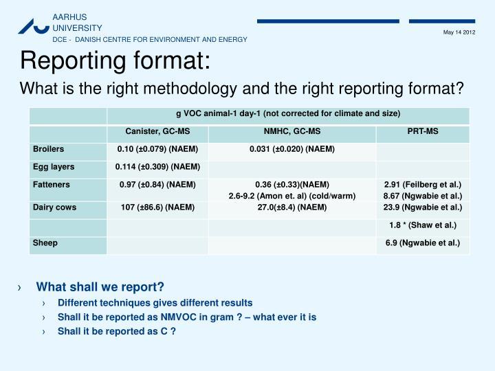 Reporting format:
