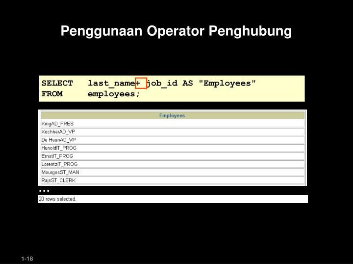 Penggunaan Operator Penghubung