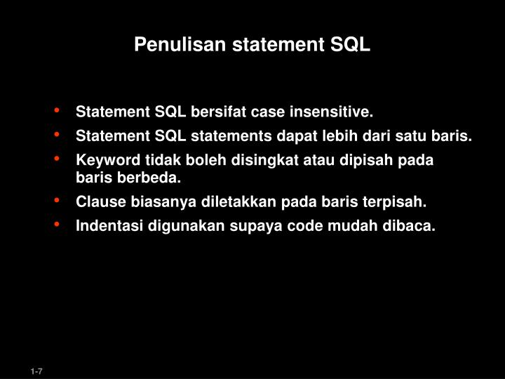 Penulisan statement SQL