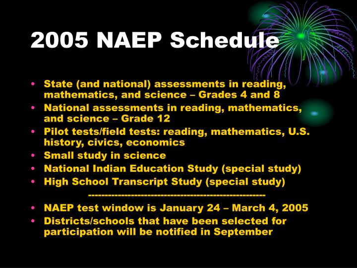 2005 NAEP Schedule