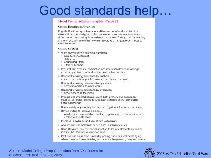 Good standards help…