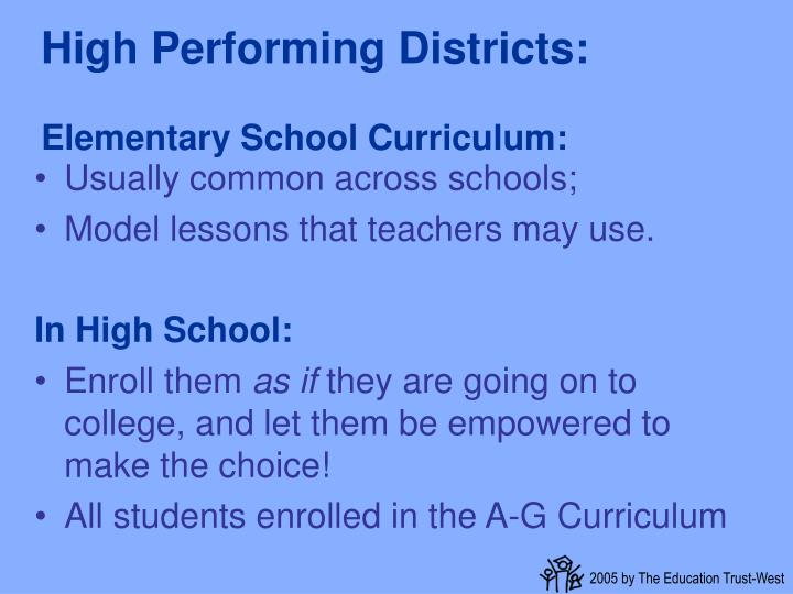 High Performing Districts: