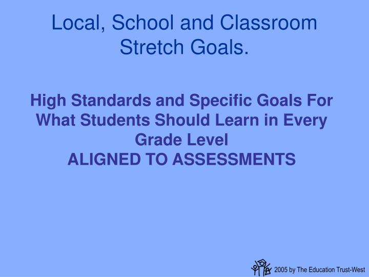 Local, School and Classroom Stretch Goals.