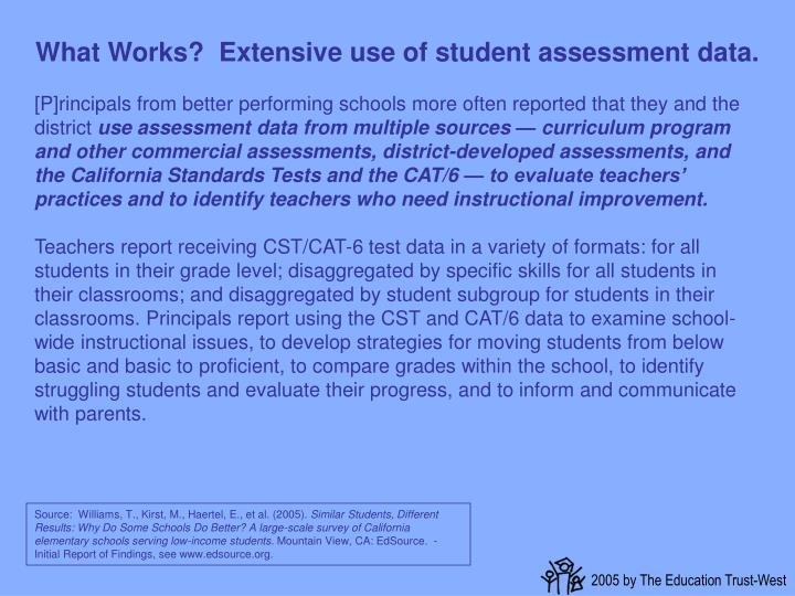 What Works?  Extensive use of student assessment data.