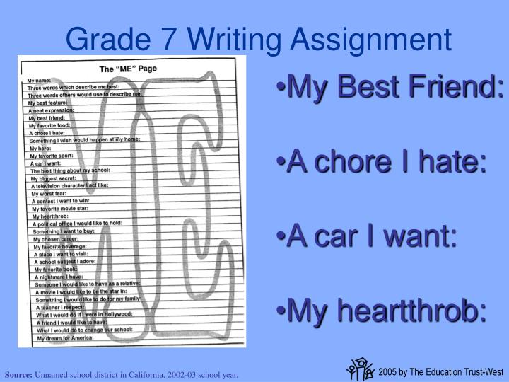 Grade 7 Writing Assignment