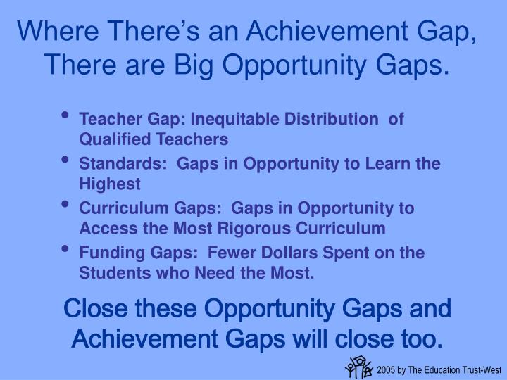 Where There's an Achievement Gap, There are Big Opportunity Gaps.