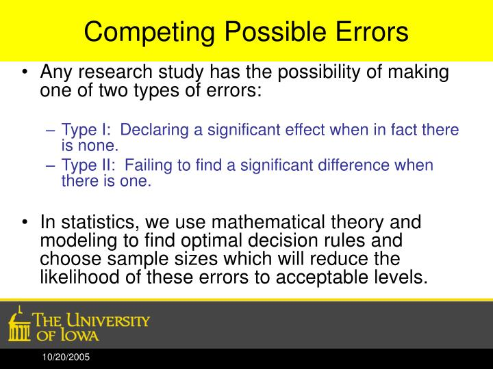 Competing Possible Errors