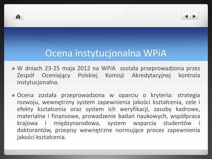 Ocena instytucjonalna WPiA