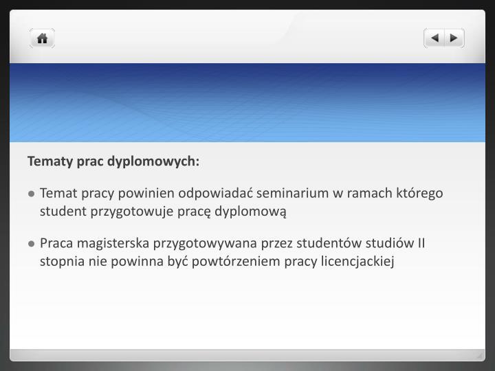 Tematy prac dyplomowych: