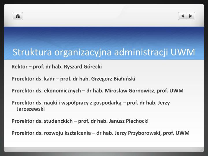Struktura organizacyjna administracji UWM