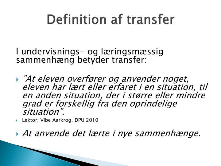 Definition af transfer