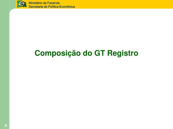 Composição do GT Registro