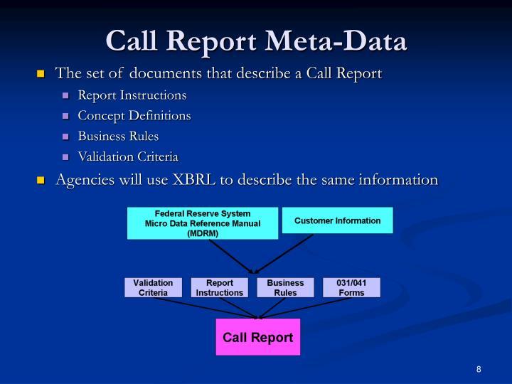 Call Report Meta-Data