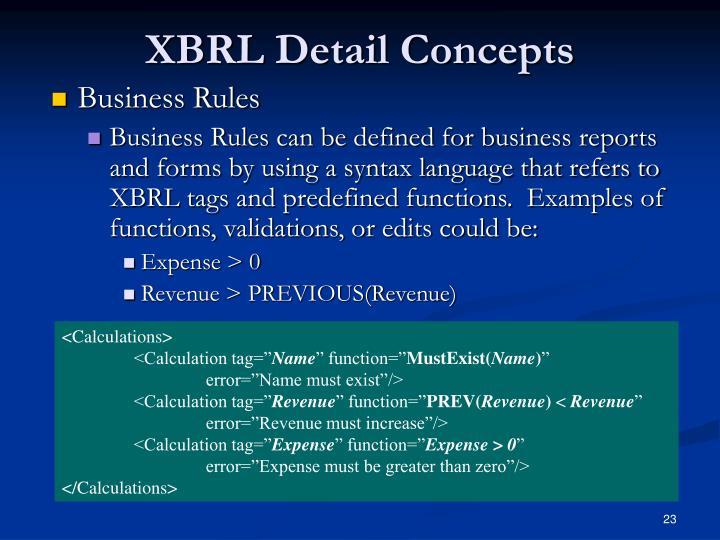 XBRL Detail Concepts