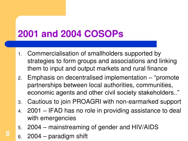 2001 and 2004 COSOPs