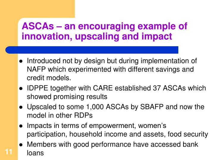 ASCAs – an encouraging example of innovation, upscaling and impact