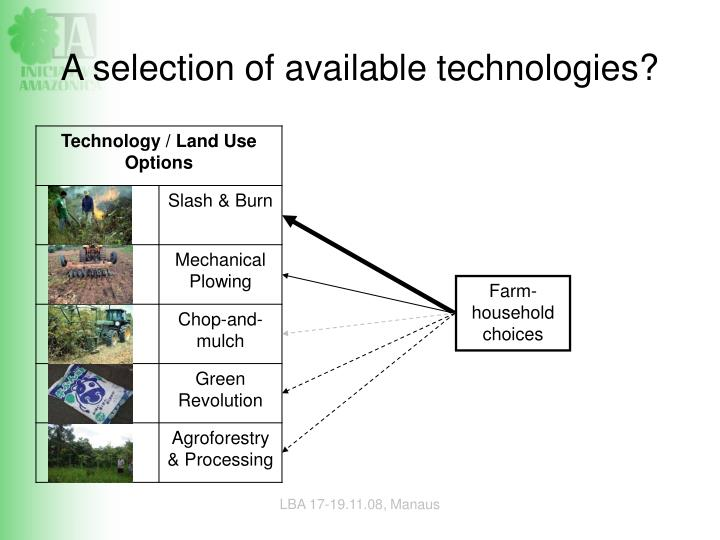 A selection of available technologies?