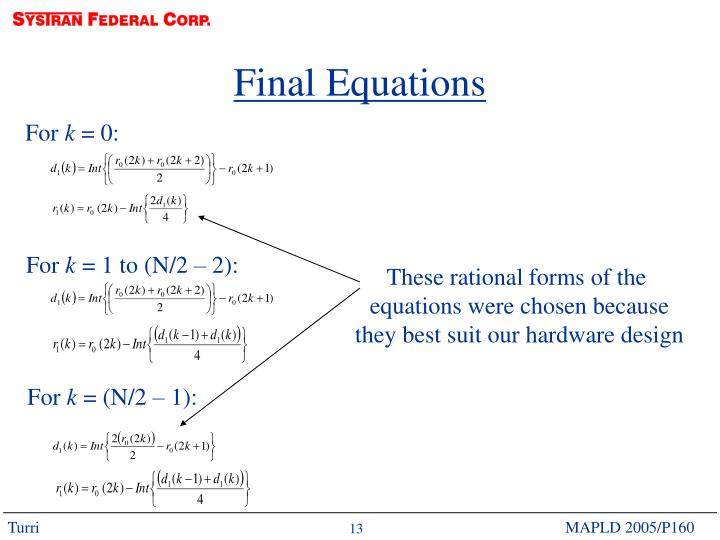 Final Equations