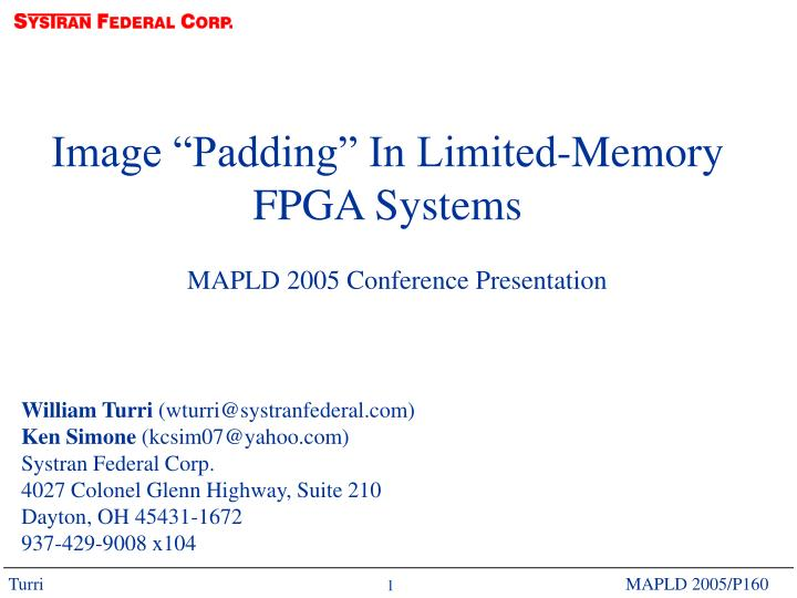 "Image ""Padding"" In Limited-Memory"