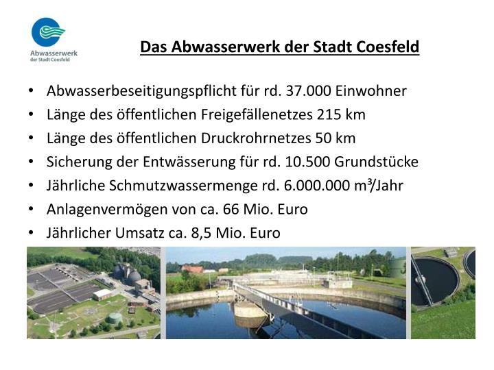 Das Abwasserwerk der Stadt Coesfeld