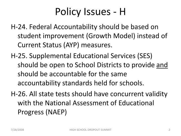 Policy Issues - H
