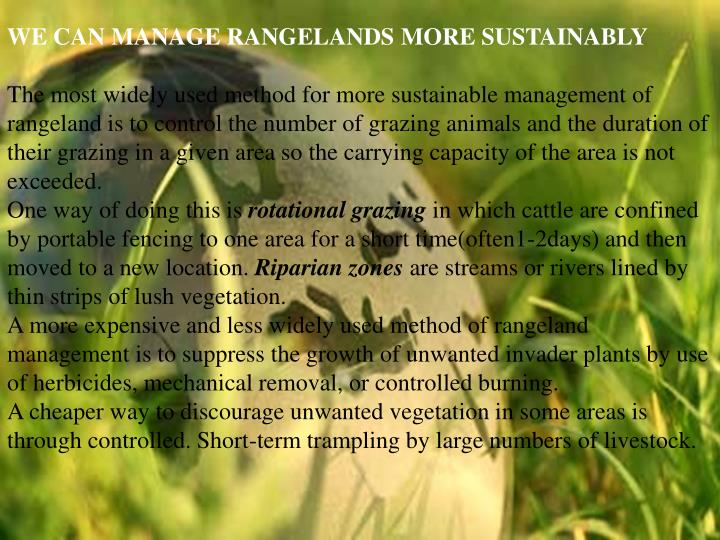 WE CAN MANAGE RANGELANDS MORE SUSTAINABLY