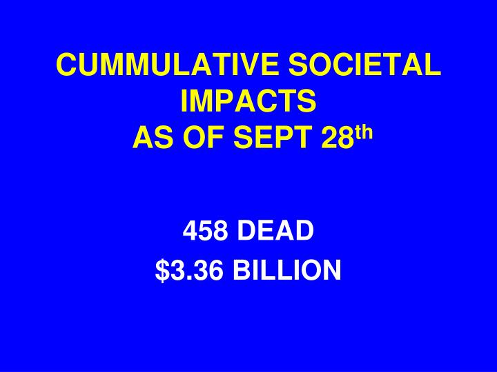 CUMMULATIVE SOCIETAL IMPACTS