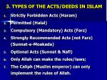 3 types of the acts deeds in islam