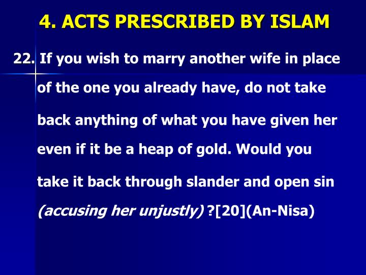 4. ACTS PRESCRIBED BY ISLAM