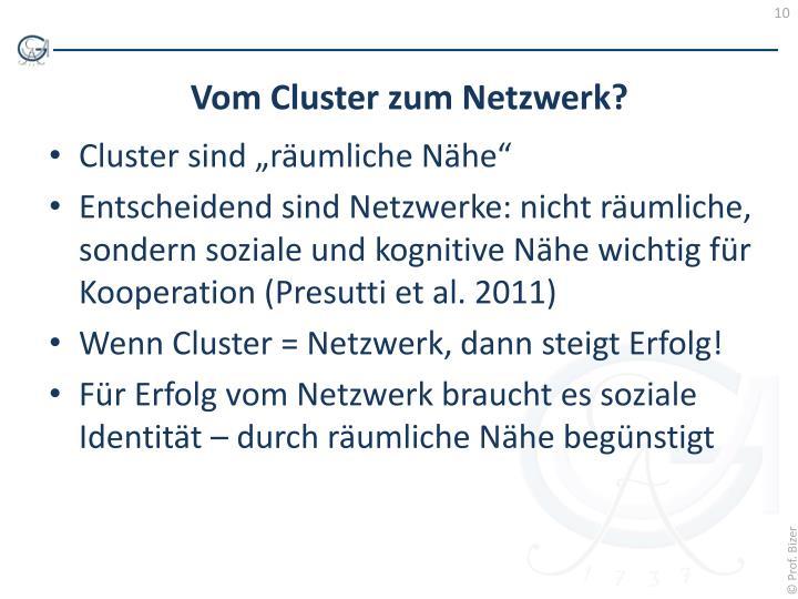 """Cluster sind """"räumliche Nähe"""""""
