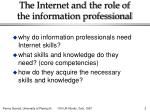 the internet and the role of the information professional