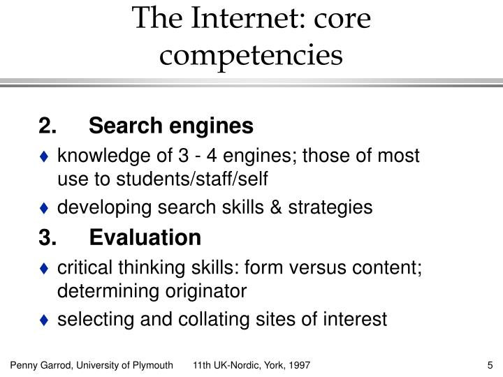 The Internet: core competencies