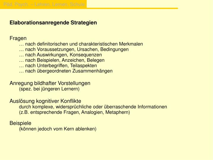 Elaborationsanregende Strategien