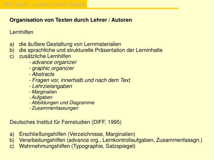 Organisation von Texten durch Lehrer / Autoren