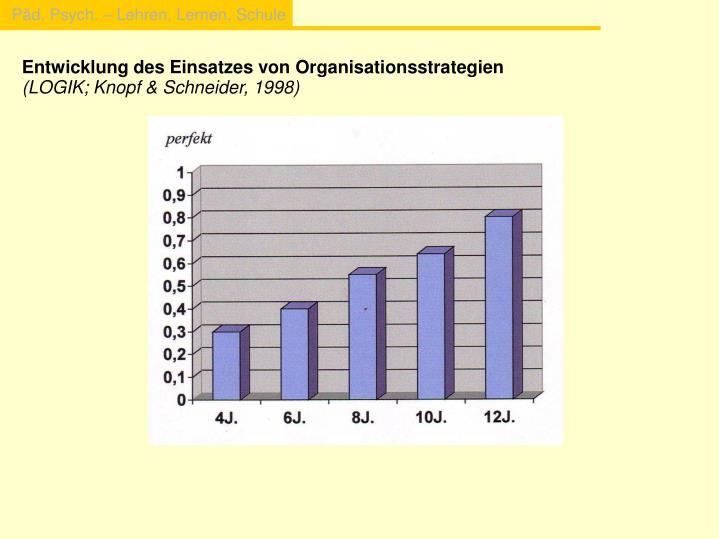 Entwicklung des Einsatzes von Organisationsstrategien